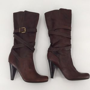 BCBGirls Brown Leather Knee High Heeled Boots 9